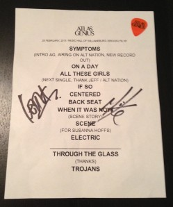 Autographed set list and Keith's guitar pick